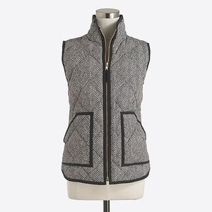 J Crew Herringbone Quilted Puffer Vest Size Small